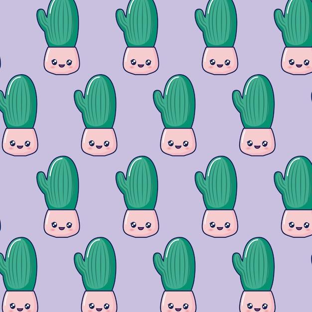 Pot de cactus kawaii Vecteur gratuit