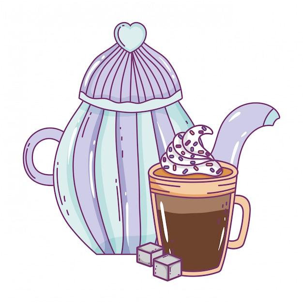 Pot de café isolé Vecteur Premium