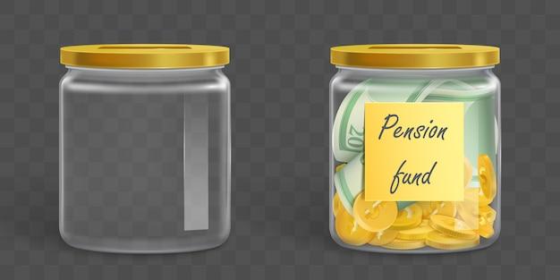 Pot En Cristal D'argent Vide Et Plein Vecteur gratuit