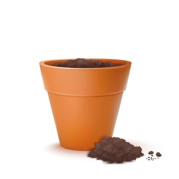 Pot de fleurs avec terre Vecteur Premium