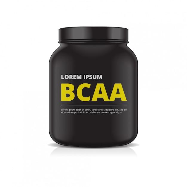 Pot En Plastique Noir Sur Fond Blanc. Nutrition Sportive, Protéine De Lactosérum Ou Gaineur Vecteur Premium