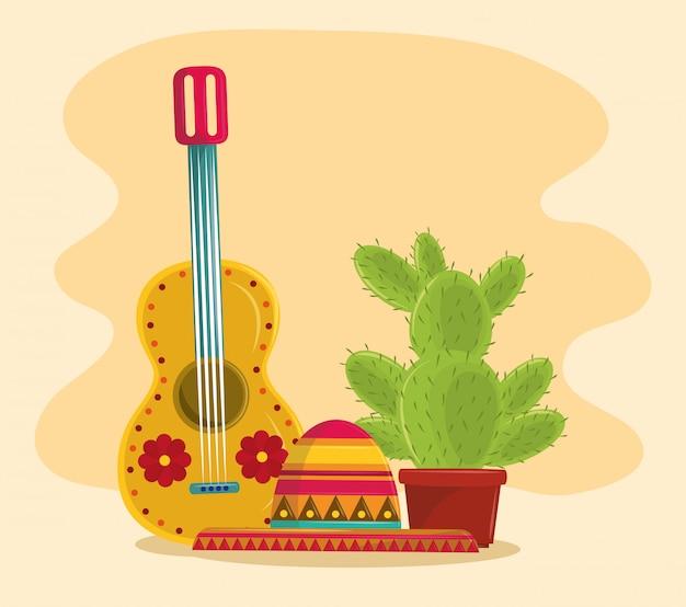 Pot succulent mexique et cactus Vecteur Premium