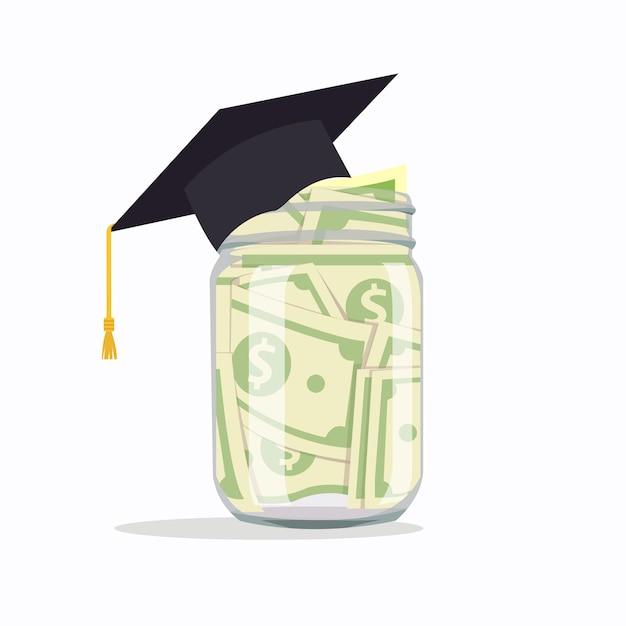 Pot En Verre Avec De L'argent Pour L'éducation, Illustration Vectorielle Isolé. Vecteur Premium