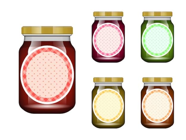 Pot En Verre Avec Confiture Et Configurer. Collection D'emballage. étiquette De Confiture. Banque Réaliste. Vecteur Premium