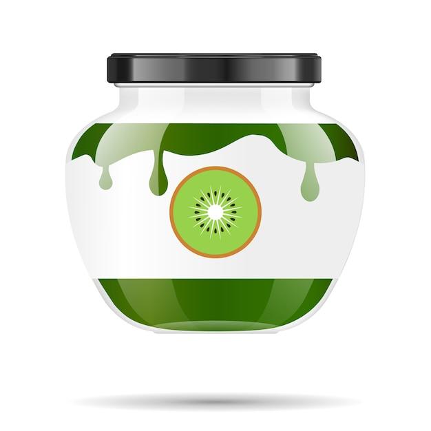 Pot En Verre Avec De La Confiture Et Configurer Avec Du Kiwi. Collection D'emballage. étiquette De Confiture. Banque Réaliste. Vecteur Premium