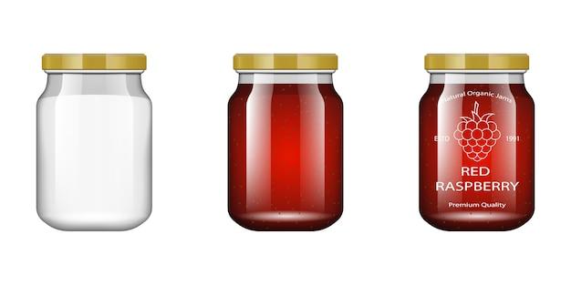 Pot En Verre Avec Confiture Et Configurer Avec Framboise. Collection D'emballage. étiquette De Confiture. Banque Réaliste. Vecteur Premium