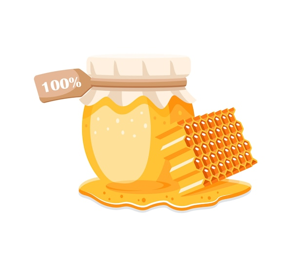 Pot En Verre Avec Du Miel, Nid D'abeille Avec Gouttes De Miel Sur Fond Blanc. élément Pour Le Concept De Miel. Illustration Vecteur Premium