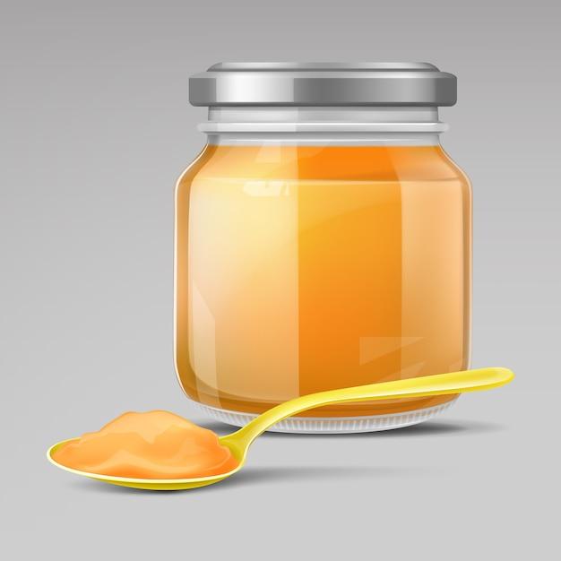 Pot En Verre Pour Bébé Et Cuillère En Plastique Avec Purée Vecteur gratuit