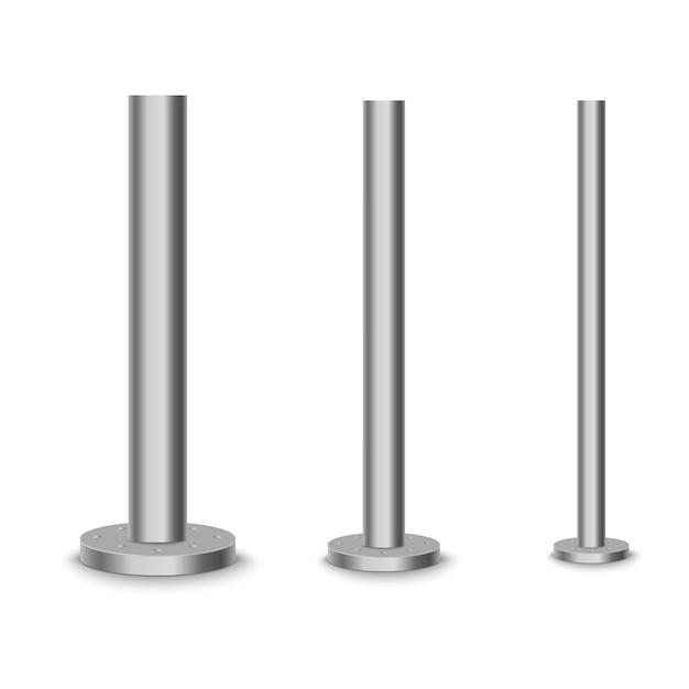 Poteau En Métal, Tube En Acier De Différents Diamètres. Vecteur Premium