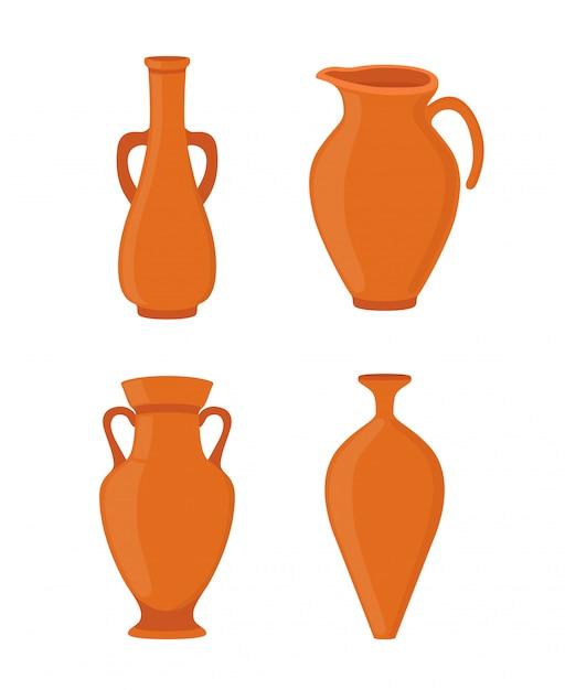 Poterie - ancien vase grec, amphore, pichet antique. céramique Vecteur Premium