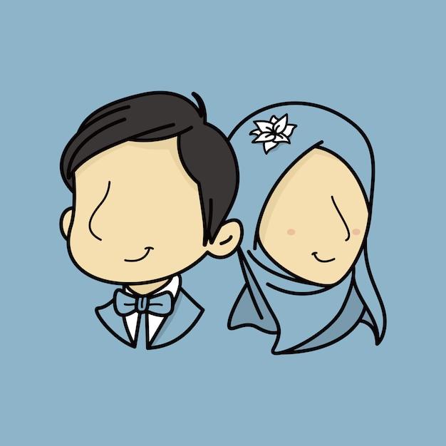 Potrait couple de mariage musulman sans visage Vecteur Premium