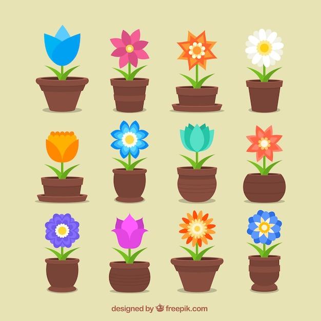 Pots de fleurs Vecteur gratuit
