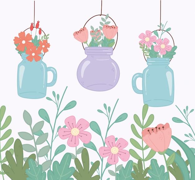 Pots Mason Avec Des Fleurs Vecteur Premium