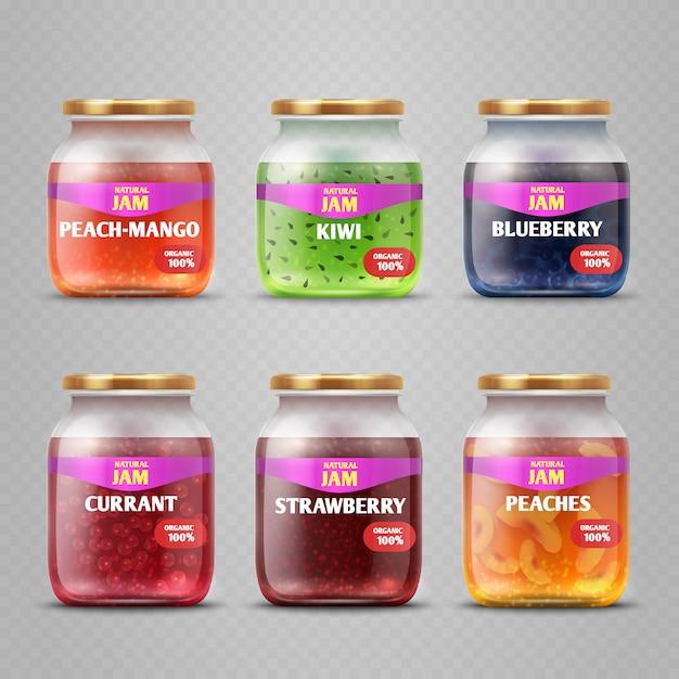 Pots de verre de confiture de fruits réaliste vecteur isolés. confiture colorée dans l'illustration du conteneur Vecteur Premium