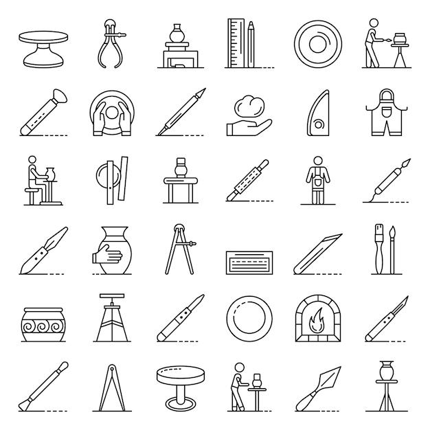 Potters wheel icons set, style de contour Vecteur Premium