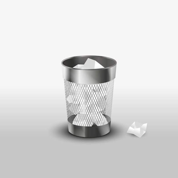 Poubelle en acier avec icône de vecteur réaliste de déchets papier Vecteur Premium