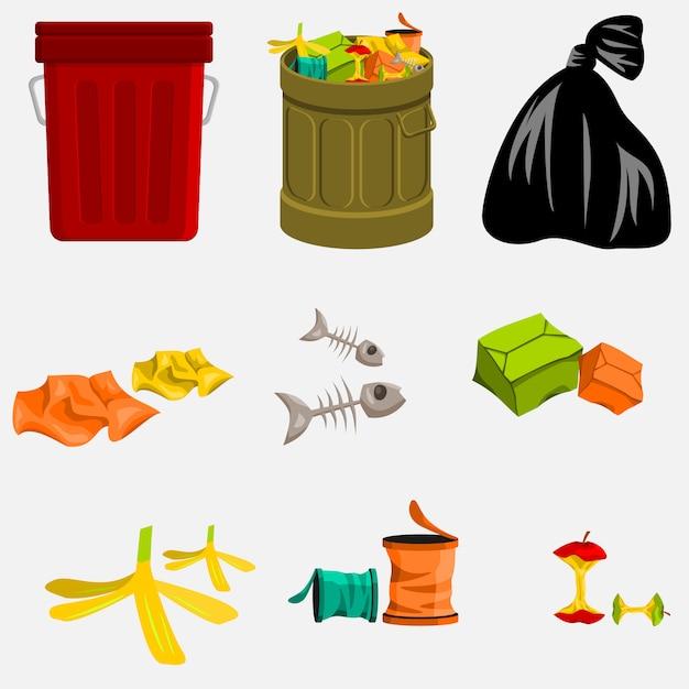 Poubelle et poubelle modifiables Vecteur Premium