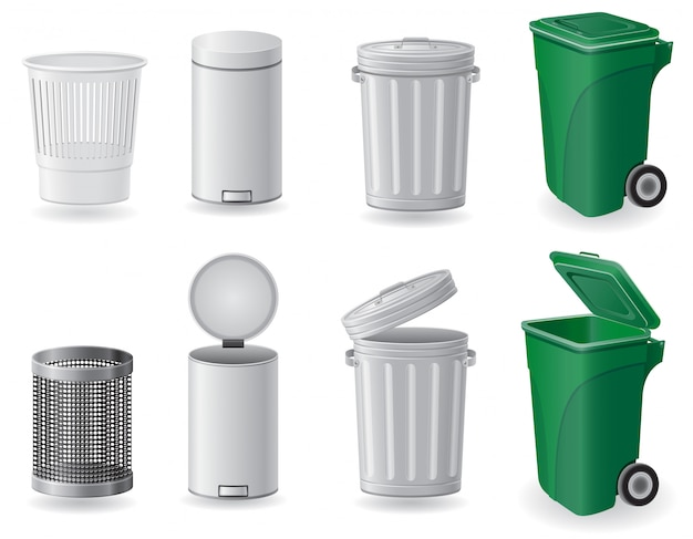 Poubelle et poubelle set illustration vectorielle Vecteur Premium