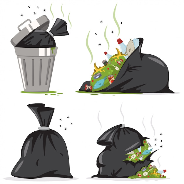 Poubelle et sac noir contenant du plastique et des déchets alimentaires. jeu de dessin animé de vecteur d'ordures isolé. Vecteur Premium