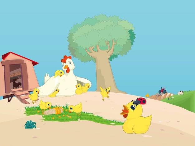 Poule avec ses poussins campagne dessin animé Vecteur gratuit