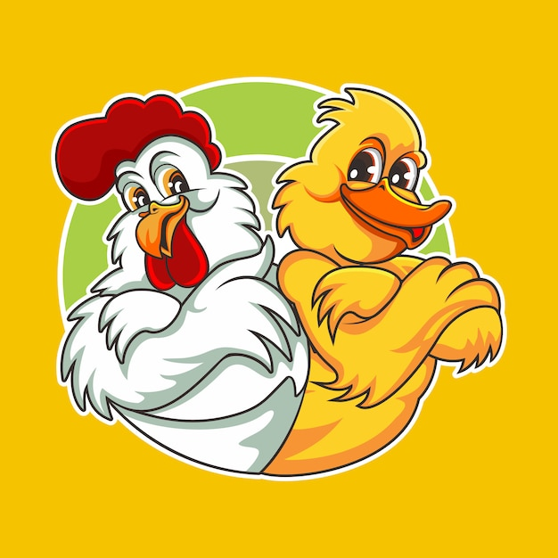 Poulet Et Canard Vecteur Premium