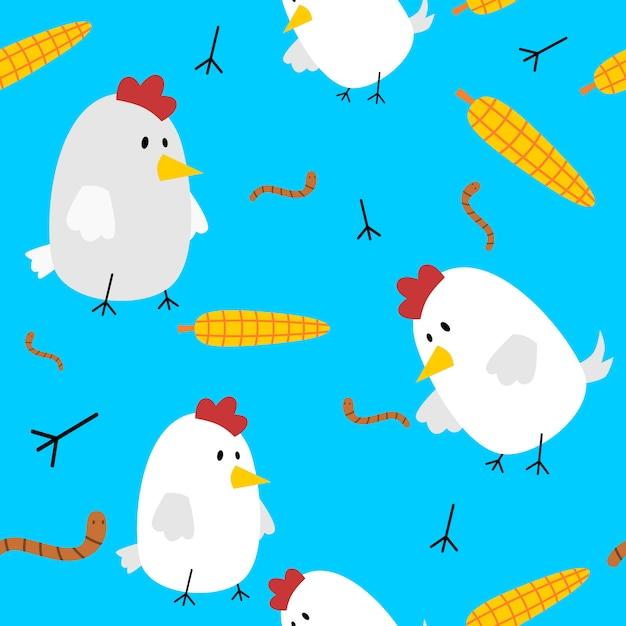 Poulet mignon modèle sans couture attraper le ver et le maïs Vecteur Premium
