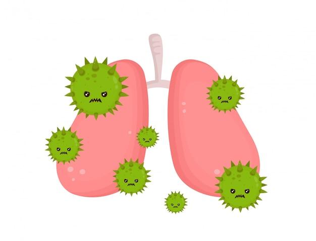 Poumons Malades Malsains Avec Le Virus De La Maladie En Colère. Vecteur Premium