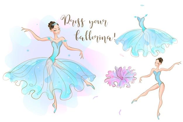 Une poupée ballerine et un ensemble de vêtements composé de deux robes. Vecteur Premium