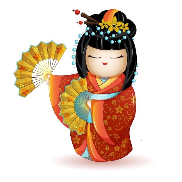 Poupée jkokeshi en kimono rouge avec éventails. Vecteur Premium