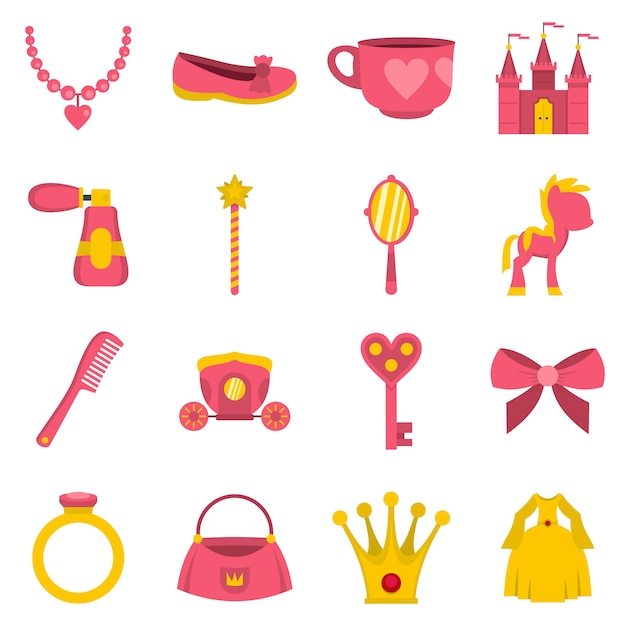 Poupée princesse articles icônes définies dans un style plat Vecteur Premium