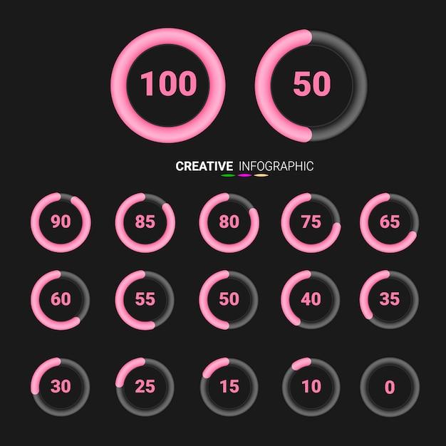 Pour cent des symboles de camembert. infographie vectorielle de pourcentage. Vecteur Premium