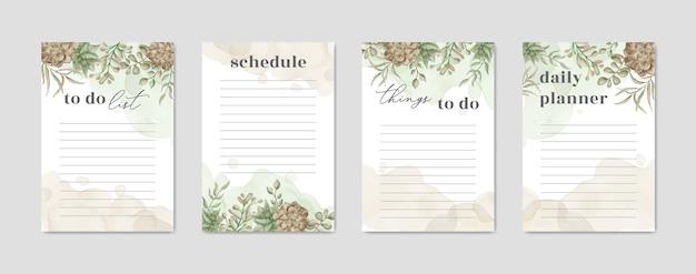 Pour Faire Du Papier Liste Avec Aquarelle De Plantes Florales Vecteur Premium