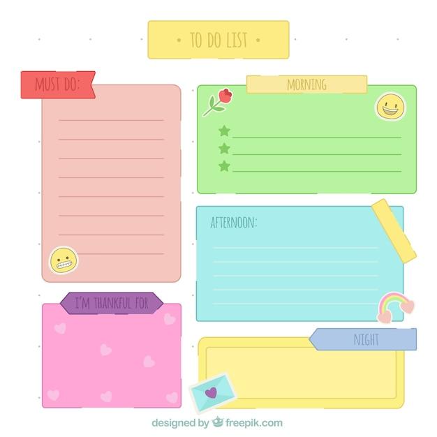 pour faire la liste avec des notes de couleur t l charger des vecteurs gratuitement. Black Bedroom Furniture Sets. Home Design Ideas