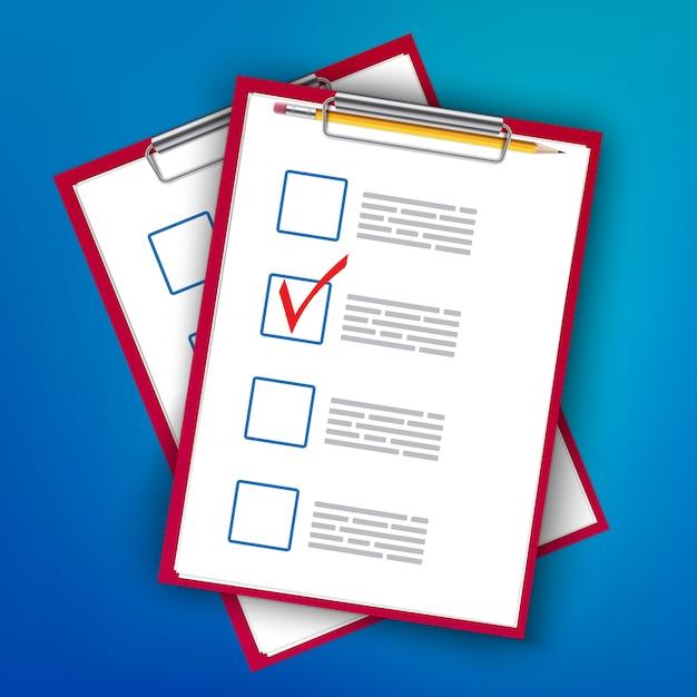 Pour faire les ticks de la liste, la planification du presse-papier à faire. Vecteur Premium