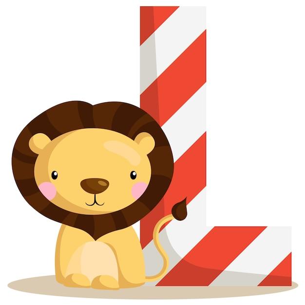 L pour lion Vecteur Premium