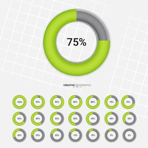 Pourcentage de cercle Vecteur Premium