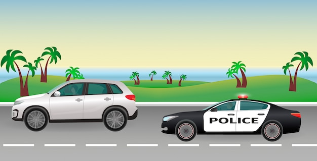 Poursuite De La Police Sur Une Route. Travail De Police. Une Voiture De Police Avec Des Feux Clignotants Poursuit Le Contrevenant. Vecteur Premium