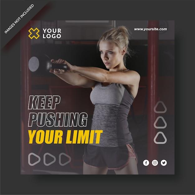 Pousser Votre Modèle Instagram De Centre De Fitness Limite Vecteur Premium