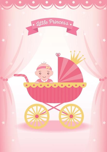 Poussette petite princesse Vecteur Premium