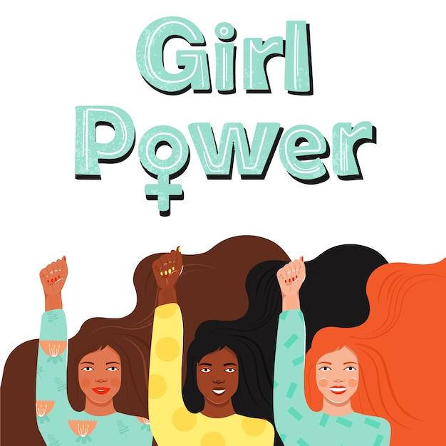 Pouvoir des filles . l'autonomisation des femmes. Vecteur Premium