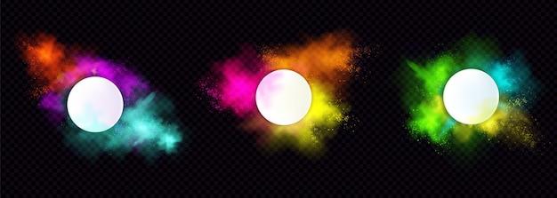 Powder Holi Peint Des Cadres Ronds, Des Nuages Colorés Ou Des Explosions, Des éclaboussures D'encre, Des Bordures De Colorant Vibrant Décoratif Isolés Vecteur gratuit