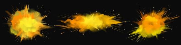 Powder Holi Peint Des Nuages D'explosion Orange, Or, Jaune, éclaboussures D'encre, Colorant Vibrant Décoratif Pour Festival Isolé Sur Noir Vecteur gratuit