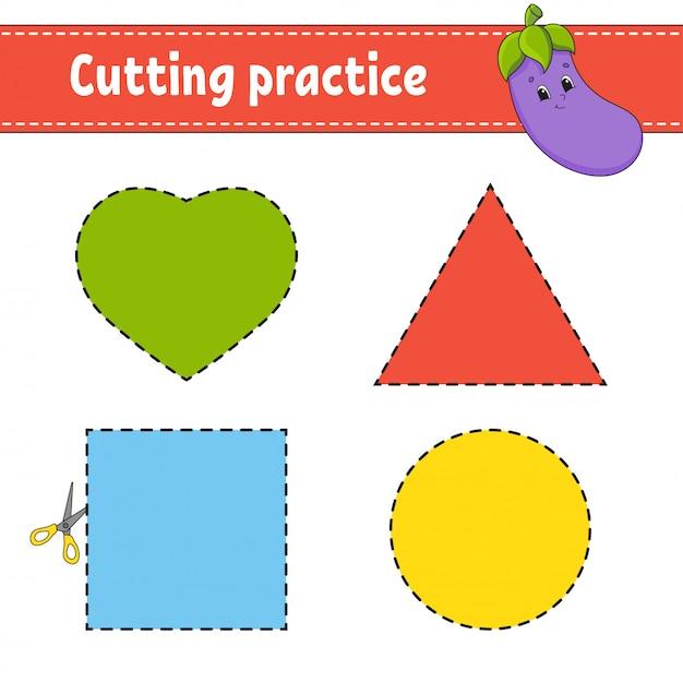 Pratique de coupe pour les enfants. Vecteur Premium