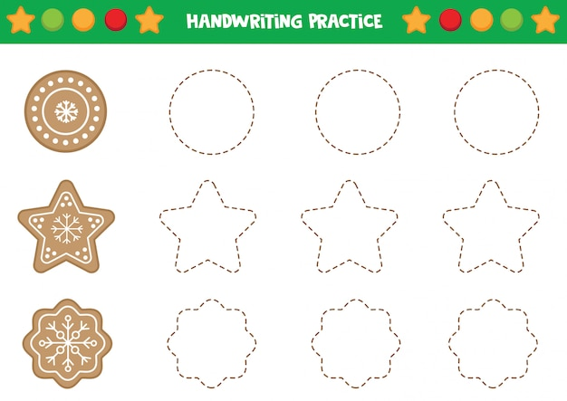 Pratique d'écriture avec des biscuits au pain d'épice. Vecteur Premium