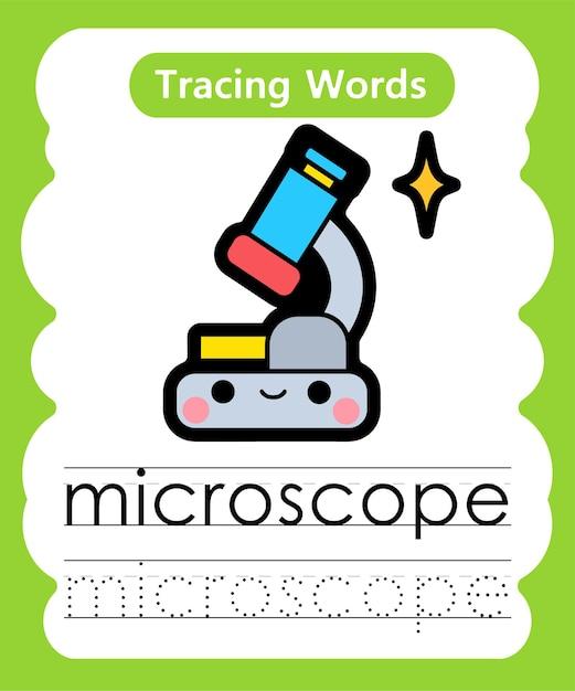 La Pratique De L'écriture De Mots Alphabet Traçage M - Microscope Vecteur Premium