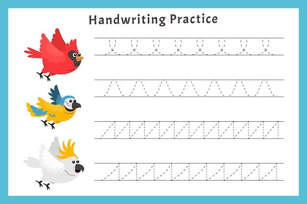 Pratique De L'écriture Avec Des Oiseaux Vecteur Premium