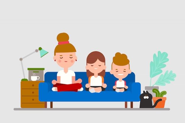 Pratique Familiale Assis Méditation Ensemble Sur Le Canapé. Illustration De Dessin Animé De Style Design Plat. Vecteur Premium
