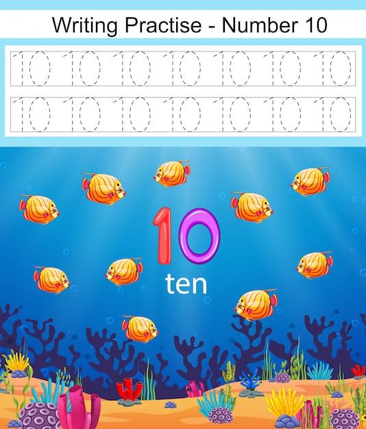 Les pratiques d'écriture numéro 10 avec poissons et coraux sous l'eau Vecteur Premium