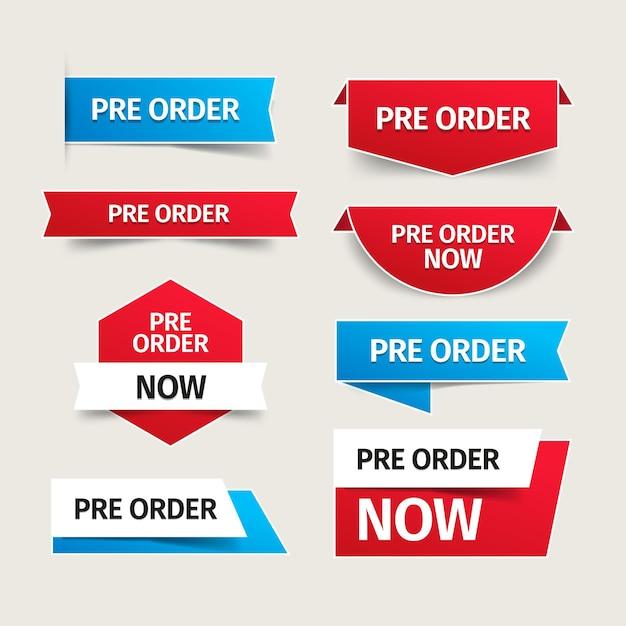 Pré-commander La Collection D'étiquettes Vecteur gratuit
