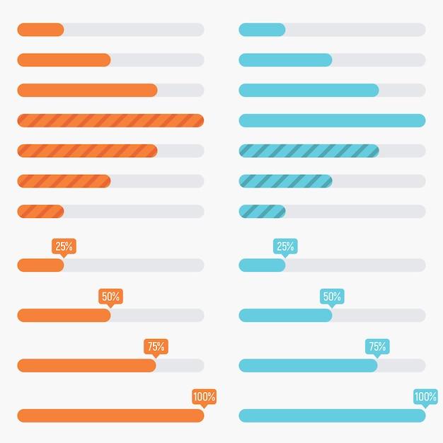 Préchargeurs orange et bleus et barres de chargement progressives dans un style plat moderne Vecteur Premium